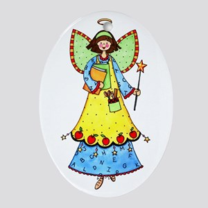 Education Angel Oval Ornament