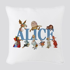 Alice in Wonderland and Friend Woven Throw Pillow
