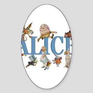Alice in Wonderland and Friends Sticker (Oval)