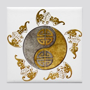 Harvest Moons Bats Yin Yang Tile Coaster