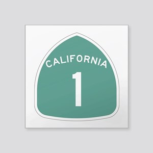 "Route 1, California Square Sticker 3"" X 3&quo"