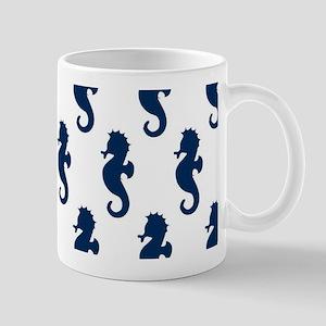 Navy Seahorses on White Mug