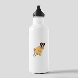 Cupcake Poopin Pug Stainless Water Bottle 1.0L