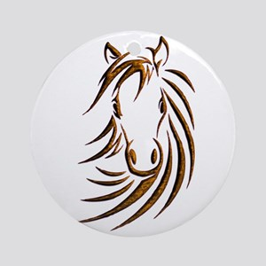 Brown Horse Head Ornament (Round)
