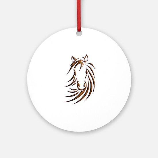Brown Horse Head Ornament (Round)