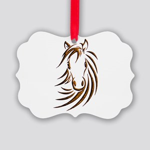 Brown Horse Head Picture Ornament