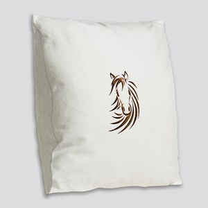 Brown Horse Head Burlap Throw Pillow