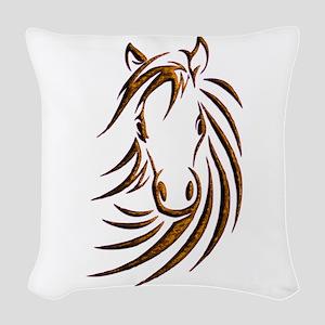 Brown Horse Head Woven Throw Pillow