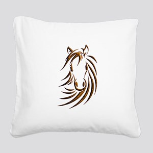 Brown Horse Head Square Canvas Pillow