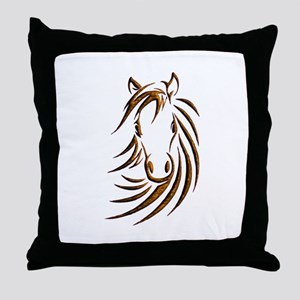 Brown Horse Head Throw Pillow
