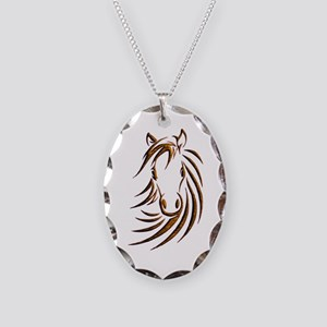 Brown Horse Head Necklace Oval Charm