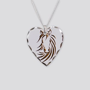 Brown Horse Head Necklace Heart Charm