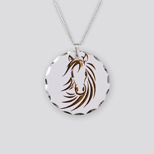 Brown Horse Head Necklace Circle Charm