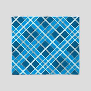 Blue Diamond Plaid Throw Blanket