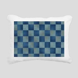 Slate Blue Checkerboard Rectangular Canvas Pillow