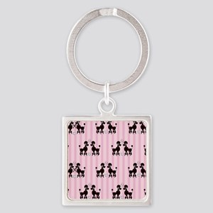 Pink Poodles And Diamonds Square Keychain