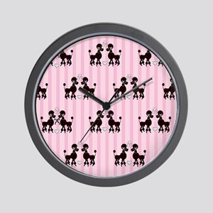 Pink Poodles And Diamonds Wall Clock