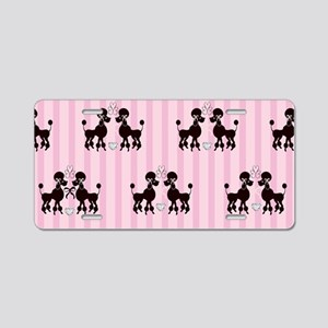 Pink Poodles And Diamonds Aluminum License Plate