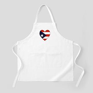 Puerto Rican Flag Heart BBQ Apron