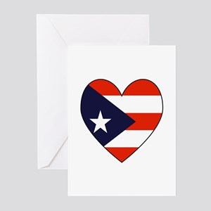 Puerto Rican Flag Heart Greeting Cards (Package of