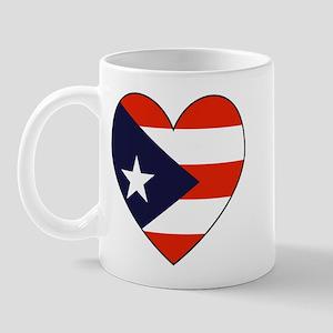 Puerto Rican Flag Heart Mug