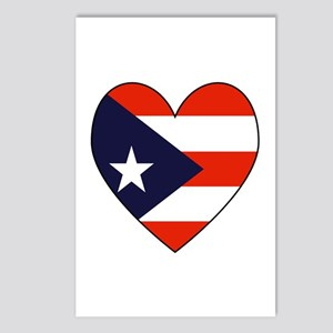 Puerto Rican Flag Heart Postcards (Package of 8)