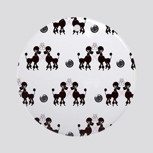 French Poodles Round Ornament