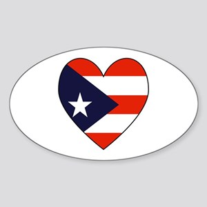 Puerto Rican Flag Heart Oval Sticker