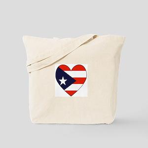 Puerto Rican Flag Heart Tote Bag
