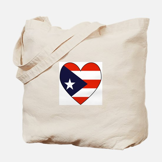 Puerto Rican Flag Heart Tote Bag