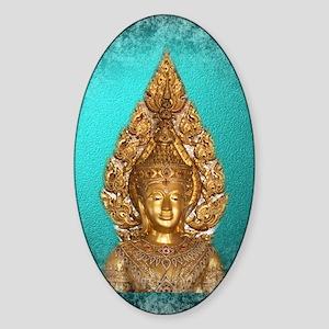 golden buddha in blue Sticker (Oval)