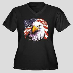 Bald Eagle W Women's Plus Size V-Neck Dark T-Shirt