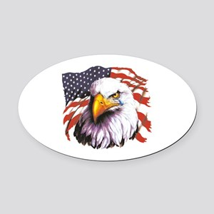 Bald Eagle With A Tear USA Flag Oval Car Magnet