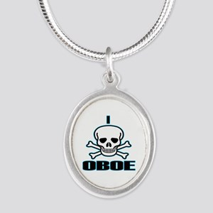 I Hate Oboe Silver Oval Necklace
