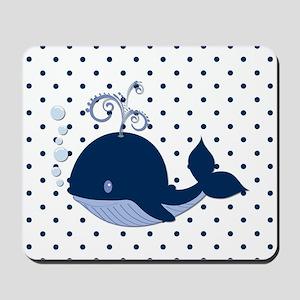 Whale on Polka Dots Mousepad