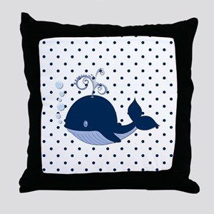 Whale on Polka Dots Throw Pillow