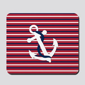 Anchor on Red, White and Blue Stripes Mousepad