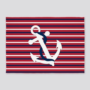 Anchor on Red, White and Blue Strip 5'x7'Area Rug