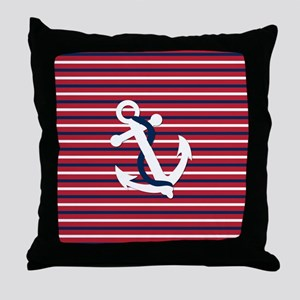 Anchor on Red, White and Blue Stripes Throw Pillow