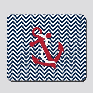 Anchors on Blue Chevron Mousepad