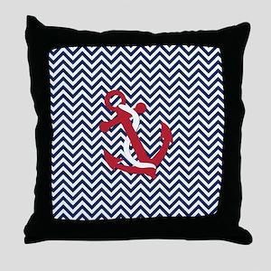 Anchors on Blue Chevron Throw Pillow