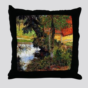 Gauguin - Red Roof by the Water Throw Pillow