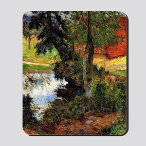 Gauguin - Red Roof by the Water Mousepad
