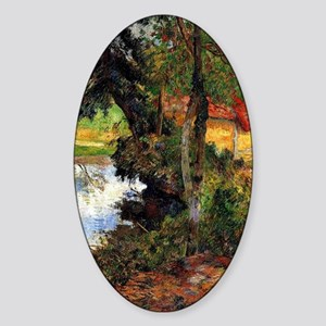 Gauguin - Red Roof by the Water Sticker (Oval)