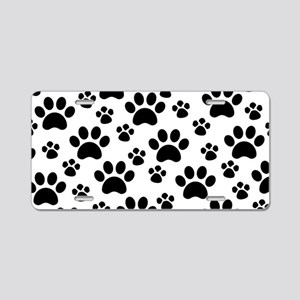 Dog Paws Aluminum License Plate