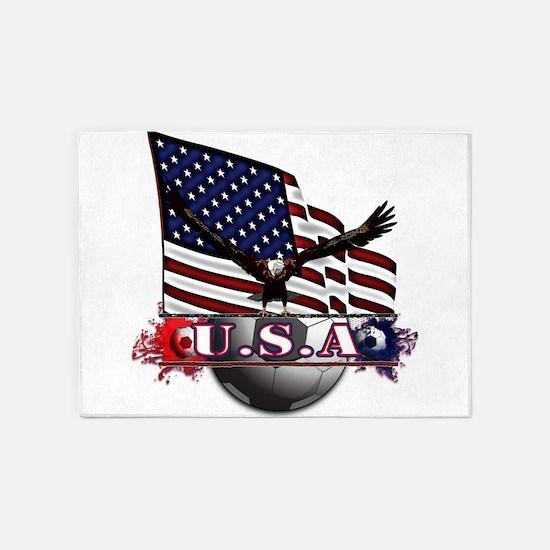 USA Flag & Soccer with Eagle 5'x7'Area Rug