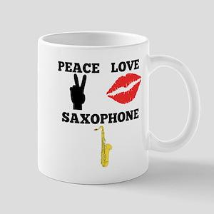 Peace Love Saxophone Mugs