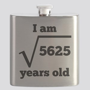 75th Birthday Square Root Flask