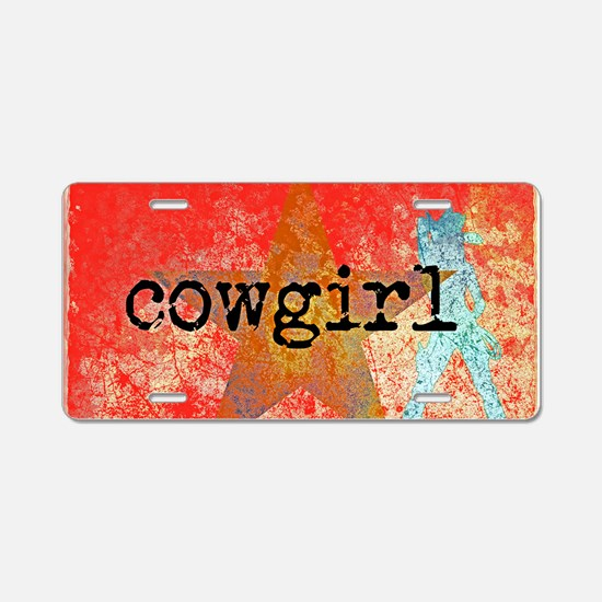 Vintage star cowgirl Aluminum License Plate