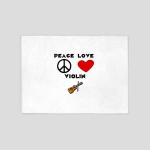 Peace Love Violin 5'x7'Area Rug